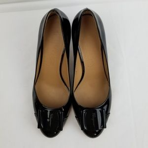 Salvatore Ferragamo Logo Patent Block Heels Pumps